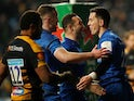 Leinster's Noel Reid celebrates scoring a try with teammates against Wasps on January 20, 2019