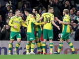 Norwich players celebrate during their win over Birmingham City on January 18, 2019