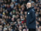 Manchester City manager Pep Guardiola watches on during the Premier League clash with Wolverhampton Wanderers on January 14, 2019
