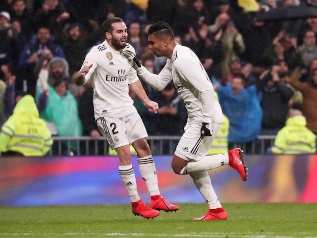 6da7a0e91 Real Madrid midfielder Casemiro celebrates scoring against Sevilla in La  Liga on January 19