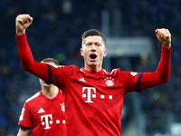 Bayern Munich striker Robert Lewandowski celebrates scoring against Hoffenheim on January 18, 2019