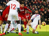 Liverpool's Roberto Firmino scores against Crystal Palace in the Premier League on January 19. 2019.