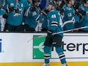 Tomas Hertl celebrates scoring for San Jose Sharks on January 15, 2019