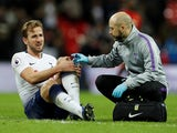 Tottenham striker Harry Kane nurses an ankle injury during his side's Premier League clash with Manchester Unite don January 13, 2019