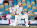 England bowler Ben Stokes celebrates taking a wicket during the Test series with West Indies on January 23, 2019