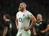 Brad Shields in action for England on November 10, 2018