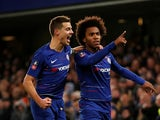 Willian celebrates scoring for Chelsea against Sheffield Wednesday in the FA Cup on January 27, 2019.
