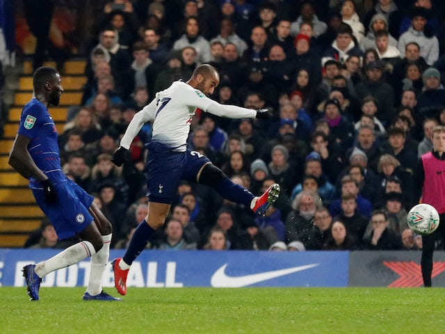 Lucas Moura shoots for Tottenham during the EFL Cup clash with Chelsea on January 24, 2019