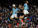 Manchester City defender Nicolas Otamendi makes a clearance during the FA Cup clash with Burnley on January 26, 2019.