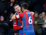 Connor Wickham and Scott Dann celebrate a goal for Crystal Palace against Tottenham Hotspur in the FA Cup on January 27, 2019.