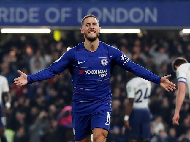 Chelsea's Eden Hazard celebrates scoring against Tottenham Hotspur in their EFL Cup semi-final second leg against Tottenham Hotspur on January 24, 2019