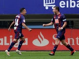 Eibar players celebrate scoring in November 2019