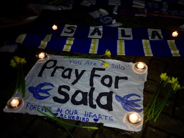 Tributes are laid to Emiliano Sala outside the Cardiff City Stadium on January 22, 2018