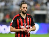 AC Milan striker Gonzalo Higuain during the Italian Super Cup clash with parent club Juventus on January 16, 2019
