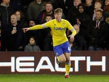 Jack Clarke celebrates scoring for Leeds against Nottingham Forest on January 1, 2019
