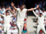 England bowler James 'Jimmy' Anderson appeals for a wicket against West Indies on January 23, 2019