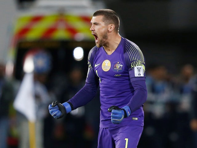 Mathew Ryan in action for Australia in their Asian Cup penalty shootout on January 21, 2019