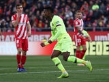 Barcelona defender Nelson Semedo celebrates scoring against Girona in La Liga on January 27, 2019.