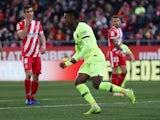 Barcelona defender Nelson Semedo celebrates scoring against Girona in La Liga on January 27, 2019.