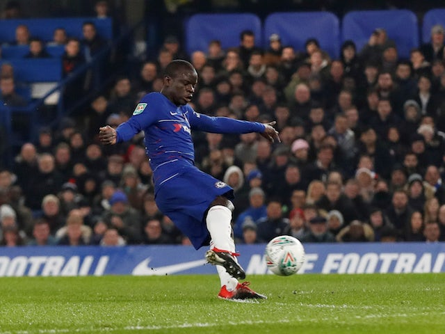 Chelsea midfielder N'Golo Kante scores the opening goal in his side's EFL Cup semi-final second leg with Tottenham Hotspur on January 24, 2019