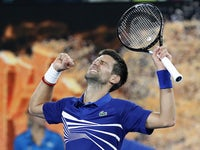 Novak Djokovic in action at the Australian Open on January 21, 2019