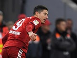 Robert Lewandowski celebrates scoring for Bayern Munich on January 27, 2019