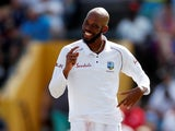 West Indies' Roston Chase celebrates on January 26, 2019