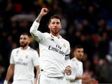 Real Madrid captain Sergio Ramos celebrates scoring against Girona in the Copa del Rey on January 24, 2019.