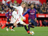 Barcelona's Kevin-Prince Boateng in action with Sevilla's Simon Kjaer in the Copa del Rey on January 23, 2019.