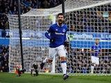 Everton's Andre Gomes celebrates scoring against Wolves on February 2, 2019