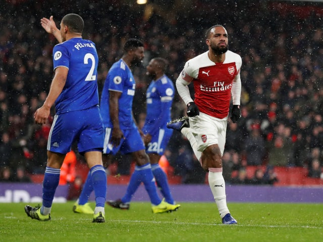 Alexandre Lacazette scores Arsenal's second goal against Cardiff City on January 19, 2019