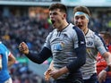 Scotland's Blair Kinghorn celebrates after scoring a try against Italy in the Six Nations on February 2, 2019