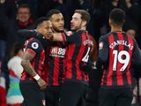 Bournemouth celebrate scoring the opening goal against Chelsea in the Premier League on January 30, 2019.