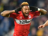 Middlesbrough striker Britt Assombalonga celebrates scoring against West Bromwich Albion on February 2, 2019