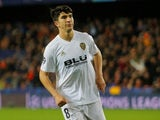 Valencia midfielder Carlos Soler in action during a Champions League group game against Manchester United in December 2018
