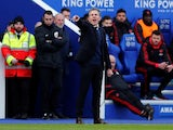 Leicester City manager Claude Puel watches on during the Premier League clash with Manchester United on February 3, 2019