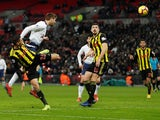 Tottenham Hotspur's Fernando Llorente heads the winning goal against Watford in the Premier League on January 30, 2019.
