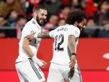 Real Madrid duo Karim Benzema and Marcelo celebrate a goal against Girona in the Copa del Rey on January 31, 2019