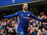 Chelsea striker Gonzalo Higuain celebrates after scoring against Huddersfield on February 2, 2019