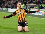 Hull City's Jarrod Bowen celebrates scoring against Stoke City on February 2, 2019