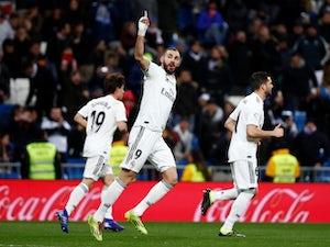 Real Madrid forward Karim Benzema celebrates scoring against Alaves in La Liga on February 3, 2019