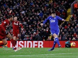 Leicester City defender Harry Maguire scores the equaliser against Liverpool on January 30, 2019