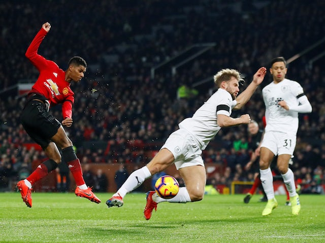 Marcus Rashford has a shot during Manchester United's Premier League clash with Burnley on January 29, 2019.