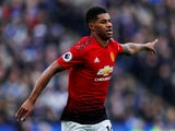 Manchester United's Marcus Rashford celebrates scoring against Leicester City in the Premier League on February 3, 2019.