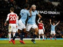 Sergio Aguero celebrates scoring his third goal during Manchester City's Premier League clash with Arsenal on February 3, 2019