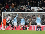 Newcastle United striker Salomon Rondon wheels away after equalising against Manchester City on January 29, 2019