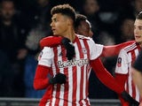 Ollie Watkins celebrates scoring for Brentford on January 28, 2019