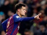Philippe Coutinho celebrates scoring for Barcelona in the Copa del Rey on January 30, 2019