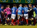 Portsmouth and QPR players engage in a mass brawl on January 26, 2019