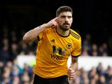 Wolverhampton Wanderers midfielder Ruben Neves celebrates scoring against Everton on February 2, 2019